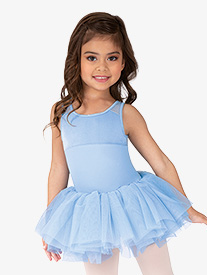 Mirella - Girls Velvet Mesh Back Tank Ballet Tutu Dress