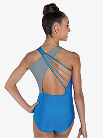 "Ilogear - Womens ""Madison"" Turquoise Crisscross Halter Leotard"
