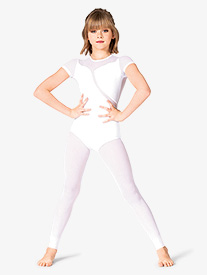 Mariia - Girls Mesh Short Sleeve Dance Unitard