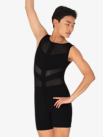 Mariia - Mens Spliced Mesh Tank Dance Shorty Unitard