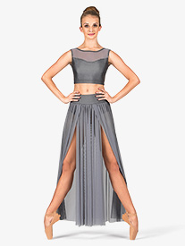 Double Platinum - Adult Emballe Long Mesh Skirt with Attached Brief