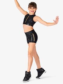 Double Platinum - Girls Camo Print Dance Shorts