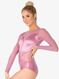 Double Platinum - Womens Performance Satin Scallop Long Sleeve Leotard