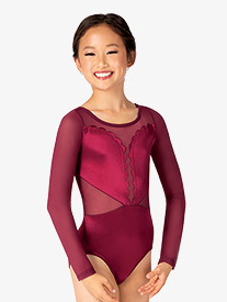 Double Platinum - Girls Performance Satin Scallop Long Sleeve Leotard