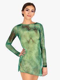 Double Platinum - Womens Tie-Dye Long Sleeve Dance Tunic Dress