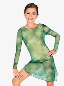 Double Platinum - Girls Tie-Dye Long Sleeve Dance Tunic Dress