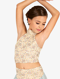 Double Platinum - Girls Lace Overlay Halter Dance Crop Top