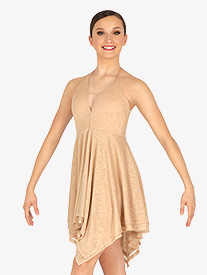 Double Platinum - Womens Glitter Halter Lyrical Dress