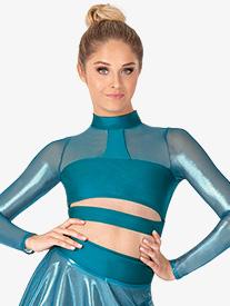 Double Platinum - Womens Performance Ultra Sheen Mesh Mock Neck Crop Top