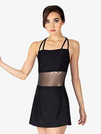 Double Platinum - Womens Performance Ultra Sheen Mesh Double Strap Camisole Dress