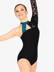 Double Platinum - Womens Lace Overlay Asymmetrical Mock Neck Leotard