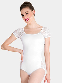 Body Wrappers - Womens Tiler Peck Lace Short Sleeve Leotard