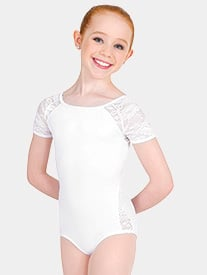 Body Wrappers - Girls Tiler Peck Lace Short Sleeve Leotard