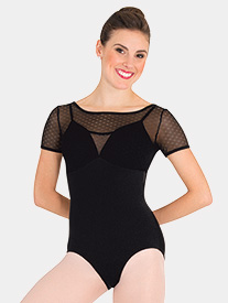 Body Wrappers - Girls Tiler Peck Floral Mesh Short Sleeve Leotard