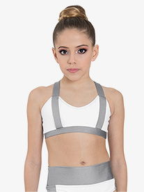 "Ilogear - Womens ""Rachel"" White Contrast Tank Dance Crop Top"