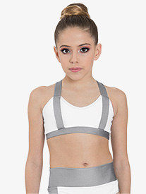 "Ilogear - Girls ""Rachel"" White Contrast Tank Dance Crop Top"