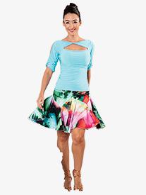 Dance America - Womens Ruched Tulip Short Ballroom Dance Skirt