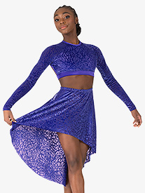 Skye by Mariia - Womens Fantasia Burnout Velvet High-Low Dance Skirt