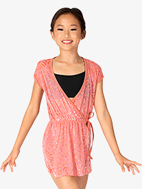 "Skye by Mariia - Girls ""Dahlia"" Burnout Velvet Short Sleeve Wrap Romper"