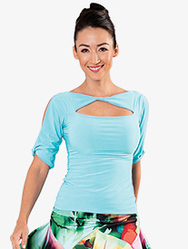Dance America - Womens Front Cutout Short Sleeve Ballroom Dance Top