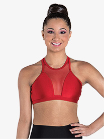 "Ilogear - Womens ""Vicky"" Ruby Mesh Halter Dance Crop Top"