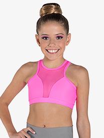 """Ilogear - Womens """"Vicky"""" Neon Pink Mesh Halter Dance Crop Top"""