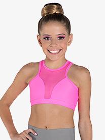 """Ilogear - Girls """"Vicky"""" Neon Pink Mesh Halter Dance Crop Top"""