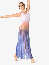 Watercolour - Girls Hand Painted Tank High Slit Mesh Lyrical Dress