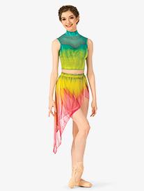 Watercolour - Womens Hand Painted Asymmetrical Lyrical Skirt