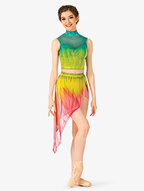 Watercolour - Girls Hand Painted Asymmetrical Lyrical Skirt