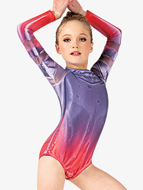 Watercolour - Girls Hand Painted Mesh Long Sleeve Leotard