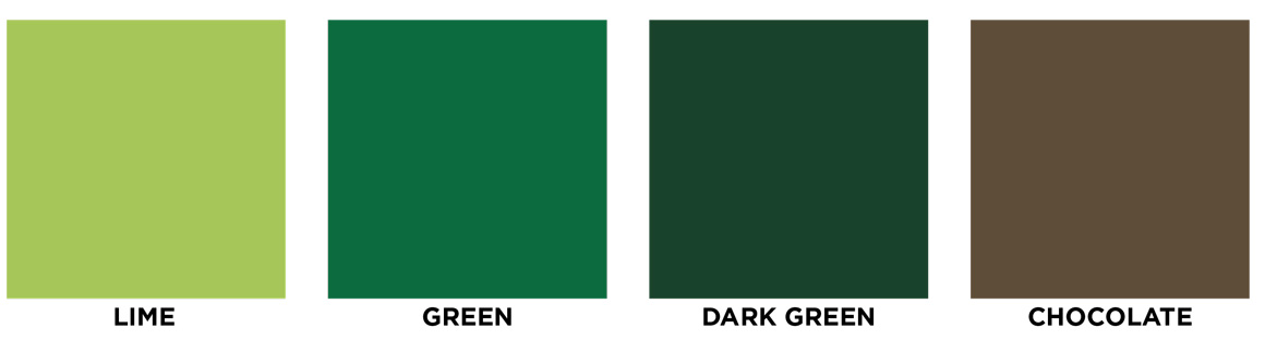 Lime, green, dark green, chocolate swatch images