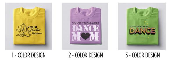 Three t-shirts highlighting possible designs