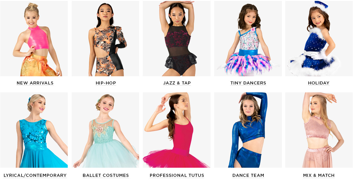 Our dance costume categories
