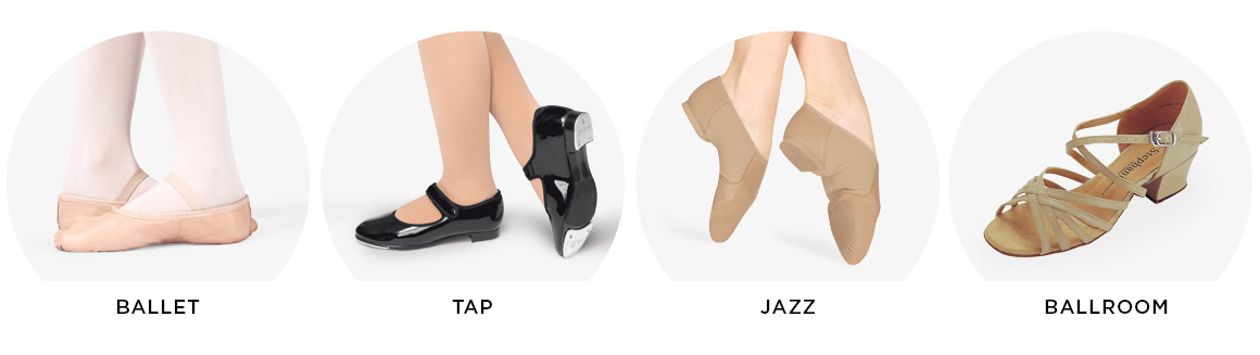 image of ballet, tap, jazz, and ballroom shoes.
